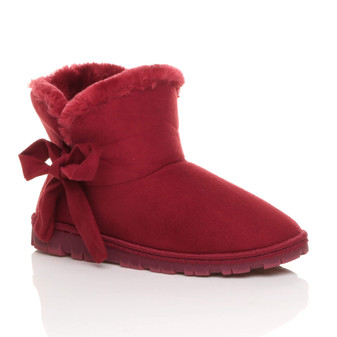 Front right side view of Berry Red Suede Flat Bow Fur Lined Ankle Boots Slippers Booties