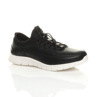 Front right side view of Black PU Flat Toggle Metallic Memory Foam Trainers