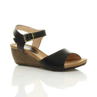 Front right side view of Black PU Mid Heel Wedge Sandals