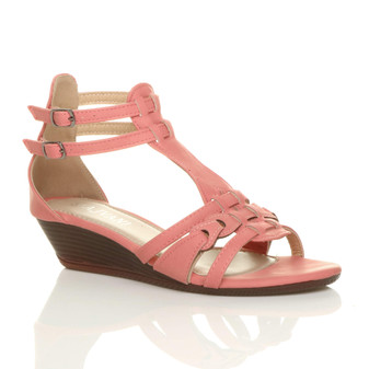 Front right side view of Coral PU Low Wedge Heel T-Bar Gladiator Sandals