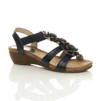 Front right side view of Navy PU Mid Wedge Heel Strappy Flower Elastic Slingback T-Bar Sandals