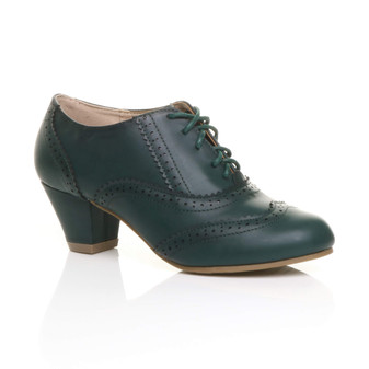 Front right side view of Teal Green PU Mid Heel Brogue Shoe Boots
