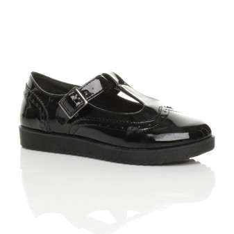 Front right side view of Black Patent Flatform T-Bar Mary Jane Brogue Shoes