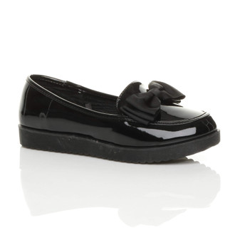 Front right side view of Black Patent Flatform Bow Loafers Shoes