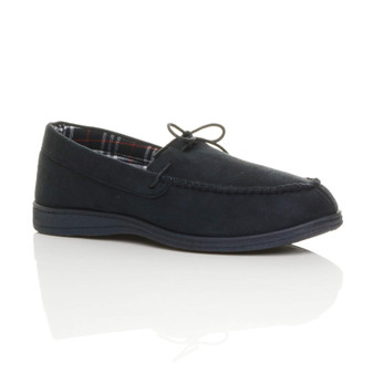 Front right side view of Navy Suede Flat Memory Foam Grip Sole Moccasin Slippers