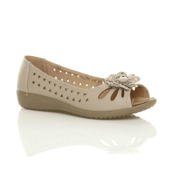 Front right side view of Nude PU Low Heel Wedge Peep Toe Comfort Shoes