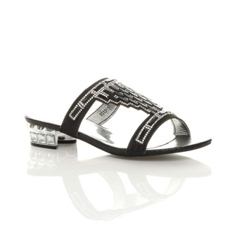 Front right side view of Black Low Heel Diamante Gem Mules Sandals