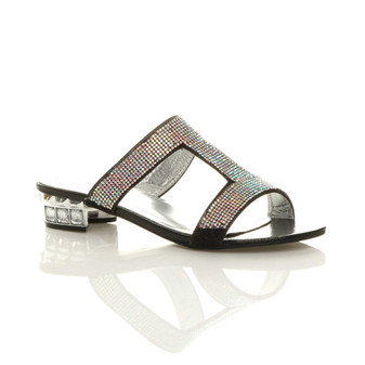Front right side view of Black Low Heel Diamante T-Bar Mules Sandals