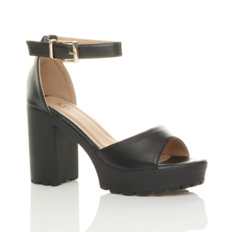 Front right side view of Black PU High Heel Platform Cleated Ankle Strap Sandals
