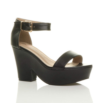 Front right side view of Black PU Mid Heel Semi Wedge Platform Sandals