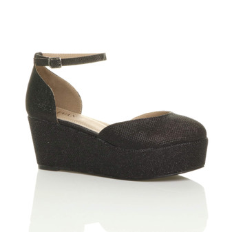Front right side view of Black Glitter Mid Heel Wedge Flatform Platform Shoes