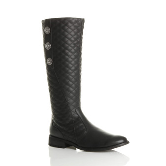 Front right side view of Black PU Quilted 3 Button Riding Calf Boots