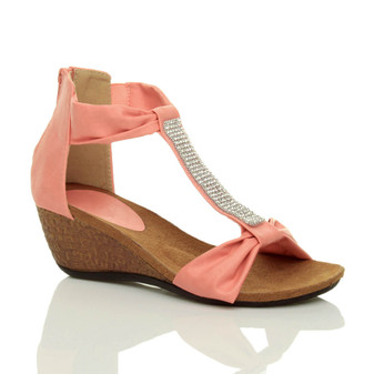 Front right side view of Coral PU Mid Heel Wedge T-Bar Diamante Sandals