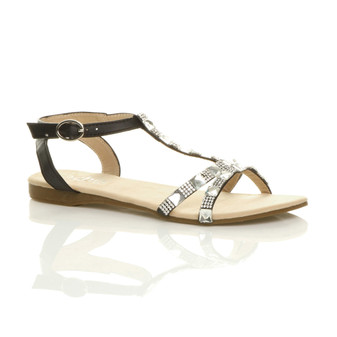 Front right side view of Black PU Flat T-Bar Diamante Gem Sandals