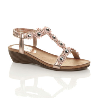 Front right side view of Rose Gold PU Low Mid Wedge Heel T-Bar Flower Diamante Sandals