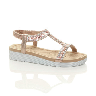 Front right side view of Rose Gold Low Wedge Heel Flatform Comfort Diamante T-Bar Slingback Sandals