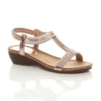 Front right side view of Rose Gold PU Low Mid Wedge Heel T-Bar Diamante Sandals
