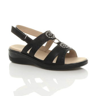 Front right side view of Black Low Heel T-Bar Slingback Diamante Comfort Sandals