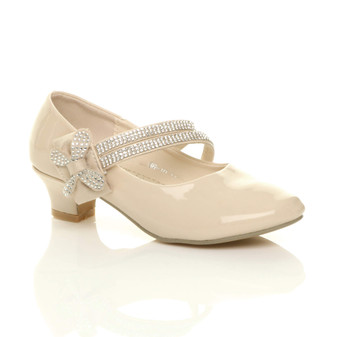 Front right side view of Beige Patent Heeled Mary Jane Diamante Strap Bow Court Shoes