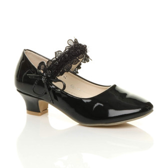 Front right side view of Black Patent Heeled Mary Jane Lace Mesh Strap Bow Court Shoes