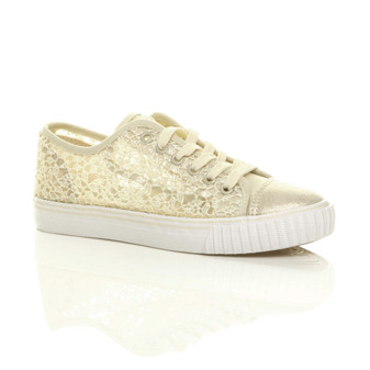 Front right side view of Beige Flat Mesh Sequin Plimsolls Trainers Sneakers