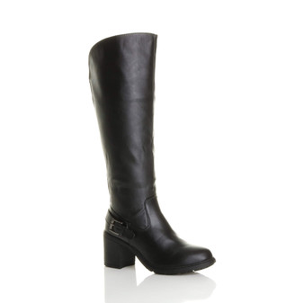 Front right side view of Black PU High Heel Wide Calf Biker Knee Boots