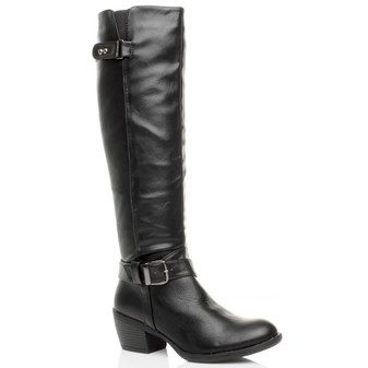 Front right side view of Black PU Mid Heel Calf Biker Knee Boots