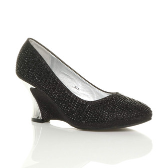 Front right side view of Black Mid Heel Wedge Diamante Court Shoes