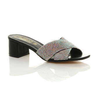 Front right side view of Black PU Mid Block Heel Diamante Slip On Mules Sandals