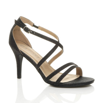 Front right side view of Black Mesh Glitter Mid Heel Strappy Crossover Sandals