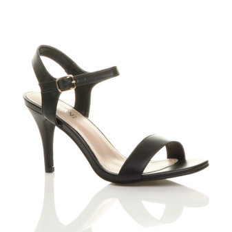 Front right side view of Black PU High Heel Strappy Buckle Sandals