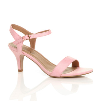 Front right side view of Baby Pink Suede High Heel Strappy Buckle Sandals