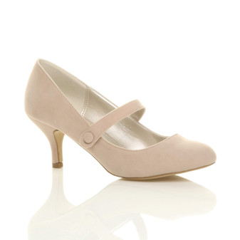 Front right side view of Nude Suede Mid Heel Mary Jane Court Shoes