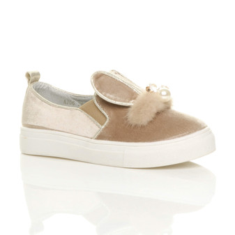 Front right side view of Beige Diamante Bunny Ears Plimsolls Trainers