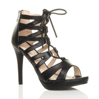 Front right side view of Black PU High Heel Platform Lace Up Sandals