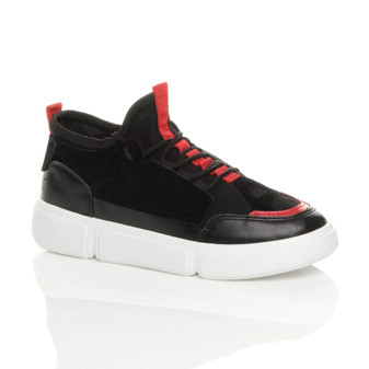 Front right side view of Black PU Lace Up Low Top Retro Contrast Trainers Sneakers