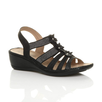 Front right side view of Black PU Mid Wedge Heel T-Bar Glitter Gladiator Comfort Slingback Sandals
