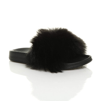 Front right side view of Black Fur Flat Faux Fur Fluffy Sandals Sliders