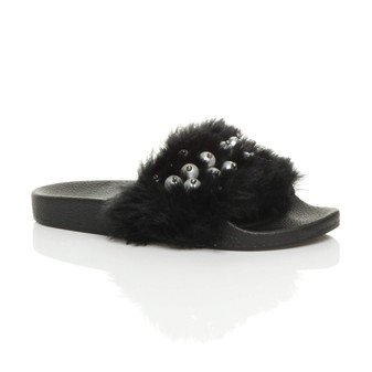 Front right side view of Black Fur Flat Faux Fur Fluffy Sandals Sliders Flip Flops