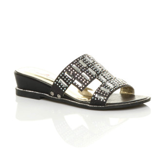 Front right side view of Black Low Wedge Heel Diamante Mules Sandals