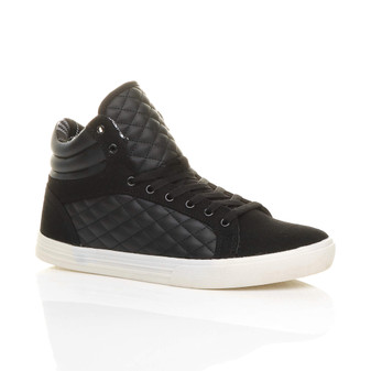 Front right side view of Black PU Flat Lace Up Quilted Hi-Top Trainers Ankle Boots