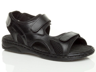 Front right side view of Black Flat Leather Hook & Loop Adjustable Sandals