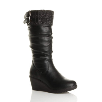 Front right side view of Black PU Mid Wedge Heel Knitted Cuff Calf Boots