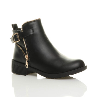Front right side view of Black PU Low Heel Gold Zip Biker Ankle Boots