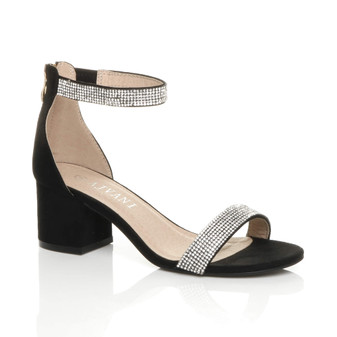 Front right side view of Black Diamante Suede Mid Heel Ankle Strap Sandals