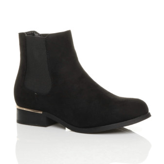 Front right side view of Black Suede Low Gold Heel Chelsea Ankle Boots