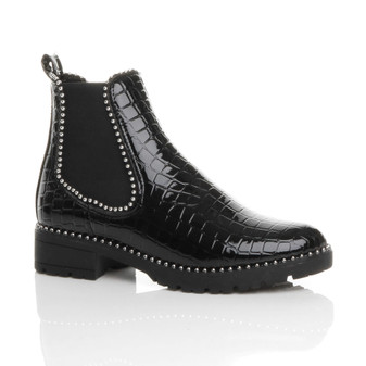 Front right side view of Black Croc Patent Low Block Heel Studded Elastic Chelsea Ankle Boots