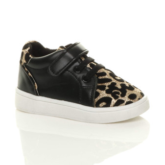 Front right side view of Black PU Infants Flat Lace Up Hook & Loop Glitter Leopard Print Trainers