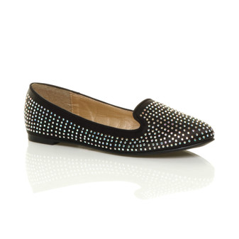 Front right side view of Black Satin Flat Diamante Ballerinas Loafers Shoes