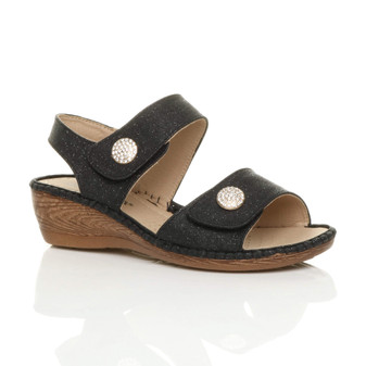 Front right side view of Black Glitter Mid Wedge Heel Slingback Comfort Sandals